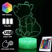 Lampe 3D Winnie l'Ourson assis, Caractéristiques et télécommande