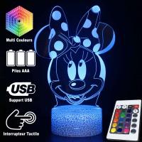 Lampe 3D Minnie et son noeud, Caractéristiques et télécommande
