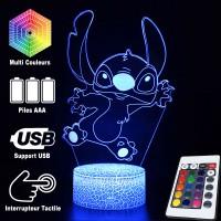Lampe 3D de Stitch qui saute, Caractéristiques et télécommande