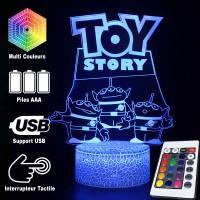 Lampe 3D Toy Story 3 Aliens, Caractéristiques et télécommande