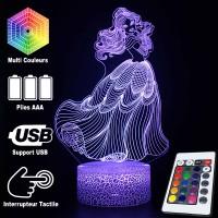 Lampe 3D Belle Dansant caractéristiques et télécommande