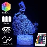 Lampe 3D Belle Rose caractéristiques et télécommande