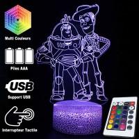 Lampe 3D Buzz Woody Toy Story caractéristiques et télécommande