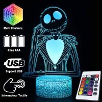 Lampe 3D Jack Skellington Caractéristique caractéristiques et télécommande
