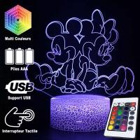 Lampe 3D Minnie Mickey caractéristiques et télécommande