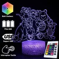 Lampe 3D Winnie Ourson Amis caractéristiques et télécommande