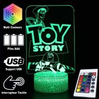 Lampe 3D Toy Story Woody Buzz caractéristiques et télécommande