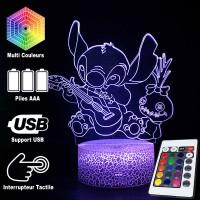 Lampe 3D Stitch Souillon caractéristiques et télécommande