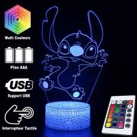 Lampe 3D Stitch Saute caractéristiques et télécommande