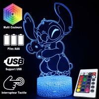 Lampe 3D Stitch Nounours caractéristiques et télécommande