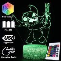 Lampe 3D Stitch Guitare caractéristiques et télécommande