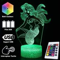 Lampe 3D Sirène Ariel Caractéristique caractéristiques et télécommande
