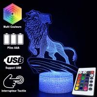 Lampe 3D Roi Lion Montagne caractéristiques et télécommande