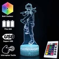 Lampe 3D Naruto Combat caractéristiques et télécommande