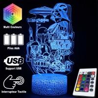 Lampe 3D Ambiance Star Wars caractéristiques et télécommande