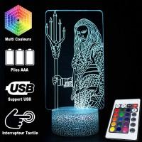 Lampe 3D Aquaman caractéristiques et télécommande