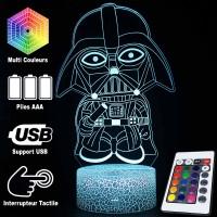 Lampe 3D Dark Vador Cartoon caractéristiques et télécommande
