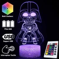 Lampe 3D Darth Vador caractéristiques et télécommande
