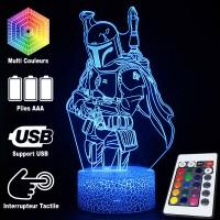 Lampe 3D Boba Fett Star Wars caractéristiques et télécommande