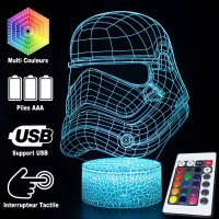 Lampe 3D Casque Stormtrooper caractéristiques et télécommande