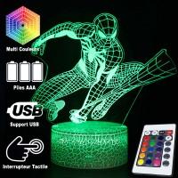 Lampe 3D Spiderman caractéristiques et télécommande