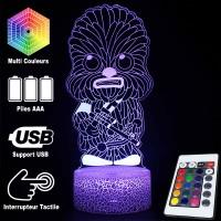Lampe 3D Chewbacca Cartoon caractéristiques et télécommande