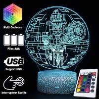 Lampe 3D Étoile de la Mort Star Wars caractéristiques et télécommande