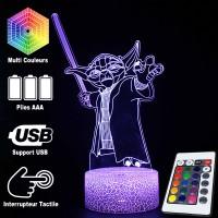 Lampe 3D Yoda Sabre Laser caractéristiques et télécommande