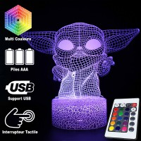 Lampe 3D Petit Yoda caractéristiques et télécommande