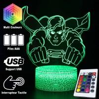Lampe 3D Superman caractéristiques et télécommande