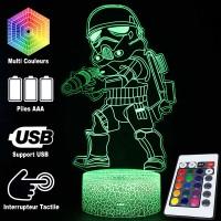 Lampe 3D Trooper Cartoon caractéristiques et télécommande