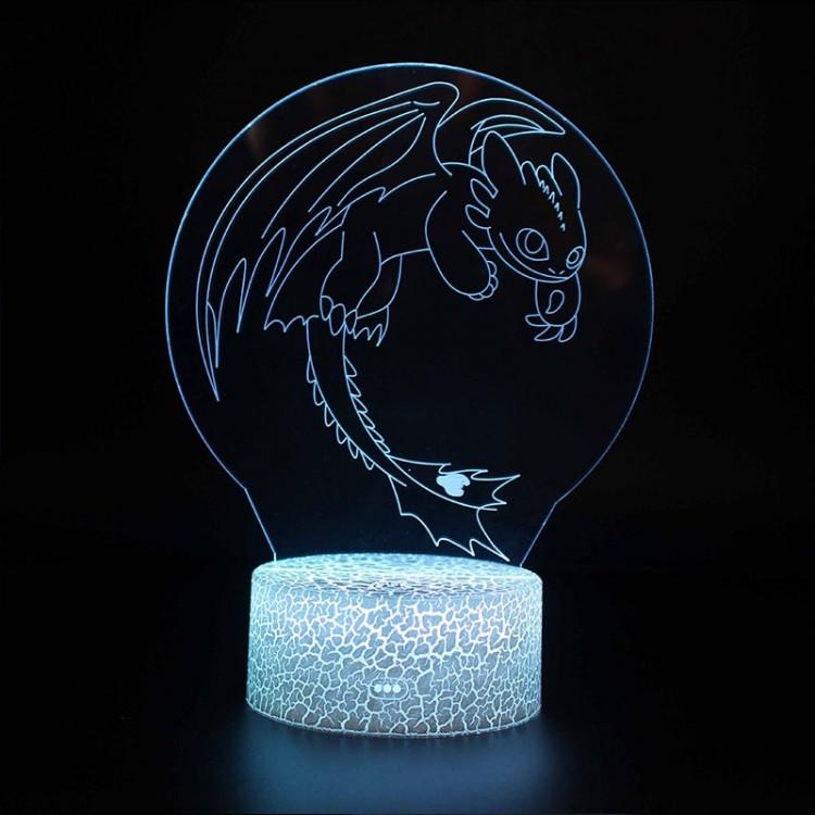 Lampe 3D Dragons Krokmou en vol
