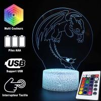 Lampe 3D Dragons Krokmou en vol caractéristiques