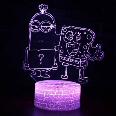Lampe 3D Minion et Bob l'Éponge
