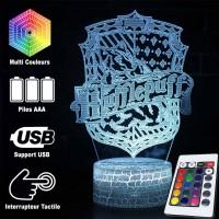 Lampe 3D blason Poufsouffle caractéristiques