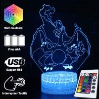 Lampe 3D Pokémon Dracaufeu caractéristiques