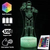 Lampe 3D C-3PO caractéristiques