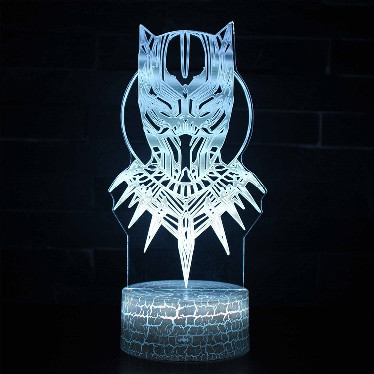 Lampe 3D Black Panther masque
